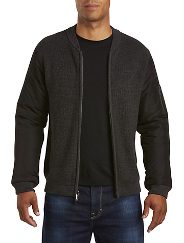Calvin Klein Jeans® Full-Zip Sweater with Insulated Nylon Sleeves   Sweaters & Vests