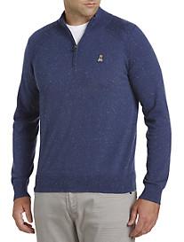 Psycho Bunny® Cotton/Cashmere Raglan Quarter-Zip Sweater