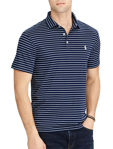 Polo Ralph Lauren® Classic Fit Stripe Soft-Touch Polo (navy light blue)