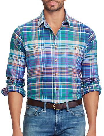 Polo Ralph Lauren® Classic Fit Plaid Oxford Work Shirt (magenta)