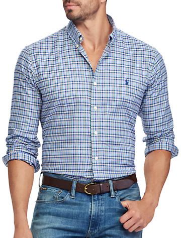Polo Ralph Lauren® Classic Fit Plaid Twill Sport Shirt (azure navy)