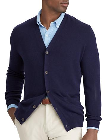 Polo Ralph Lauren® Suede-Trim Merino Wool Cardigan | Sweaters & Vests