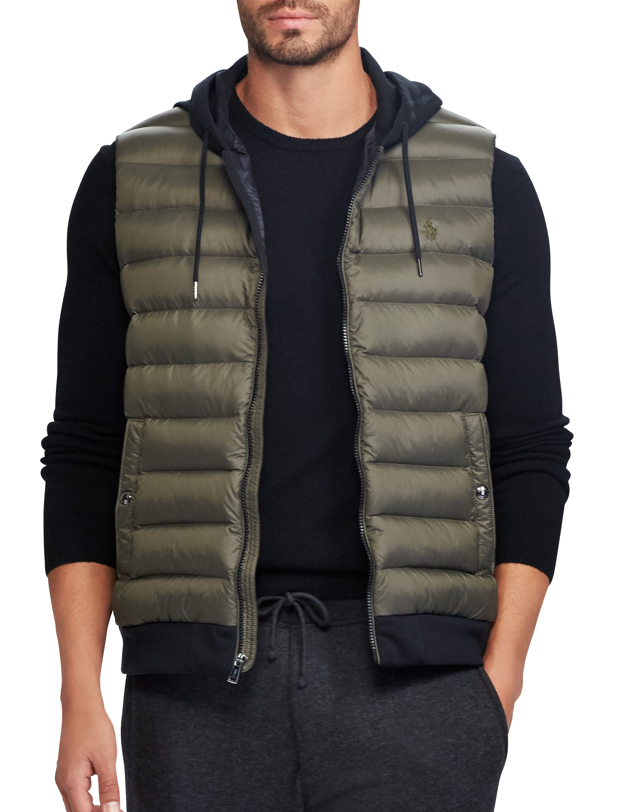 down quilted big vest fleece lauren tall quilt performance outerwear dxl mens ralph knit panel double men s store and vests polo jacket