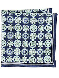 Rochester Large Geo Floral Silk Pocket Square