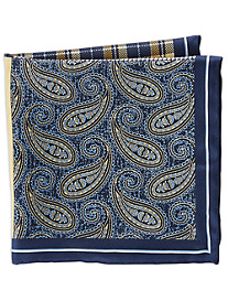 Rochester Exploded Paisley Plaid Multi Silk Pocket Square