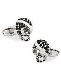 Link Up Skull with Crystals Cuff Links