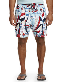 Nautica Heritage Sailing Print Swim Trunks