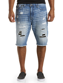 True Religion® Ricky Patch Works Rip & Repair Shorts