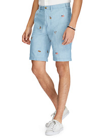 Polo Ralph Lauren® Classic Fit Embroidered Chambray Shorts