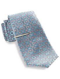 Gold Series Square Geometric Silk Tie with Tie Bar