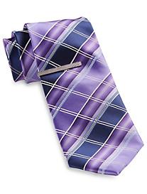 Gold Series Geometric Stripe Tie with Tie Bar
