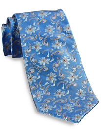 Gold Series Designed in Italy Swirl Floral Silk Tie