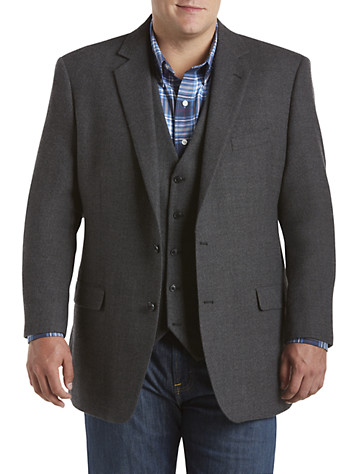 Oak Hill® Tic Weave Sport Coat with Faux-Leather Trim