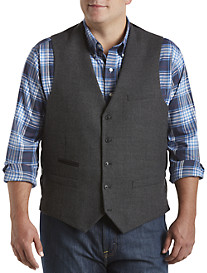 Oak Hill® Tic-Weave Wool Vest with Faux-Leather Trim