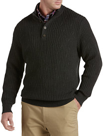 Oak Hill® Button Mockneck Cable-Knit Sweater