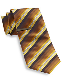 Gold Series Tonal Stripe Tie With Tie Bar