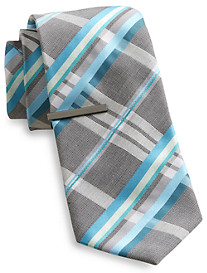 Gold Series Plaid Grid Tie with Tie Bar