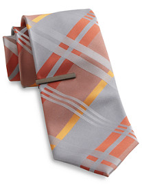 Gold Series Gingham Plaid Tie With Tie Bar