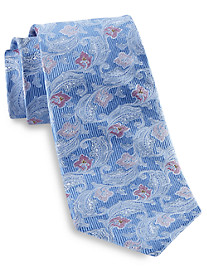 Gold Series Designed in Italy White Outlined Paisley Silk Tie