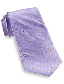 Gold Series Designed in Italy Solid Dot Paisley Silk Tie