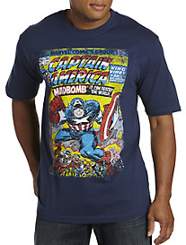 Captain America Mad Comic Cover Graphic Tee