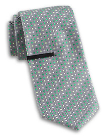 Gold Series Dual Dot Silk Tie with Tie Bar