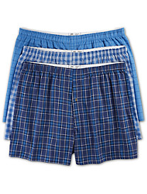 Harbor Bay® 3-pk Plaid Woven Boxers