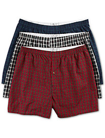 Harbor Bay® 3-pk Tartan Plaid Woven Boxers