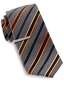 Gold Series® Ribbon Stripe Tie with Tie Bar