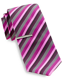 Gold Series® Tonal Stripe Tie with Tie Bar