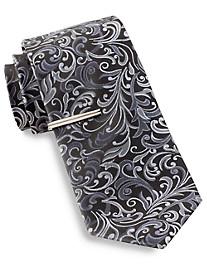 Gold Series® Vine Print Tie with Tie Bar