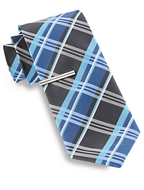 Gold Series® Large Plaid Tie with Tie Bar