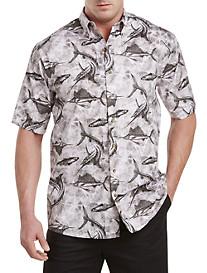 Harbor Bay® Tonal Nautical Print Sport Shirt