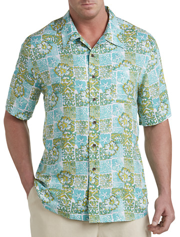 Island Passport® Batik-Print Camp Shirt (blue multi)