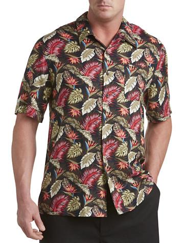 Island Passport® Leaf-Print Camp Shirt (green multi)