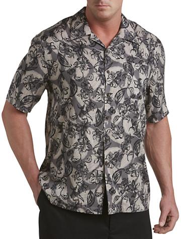 Island Passport® Leaf-Print Camp Shirt (black)