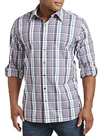 Synrgy™ Medium Plaid Roll-Sleeve Sport Shirt