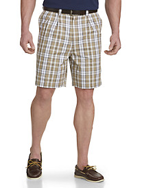 Oak Hill® Pleated Plaid Twill Shorts