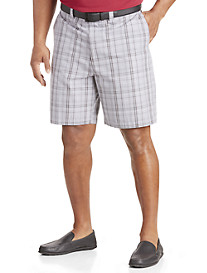 Oak Hill® Flat-Front Plaid Twill Shorts