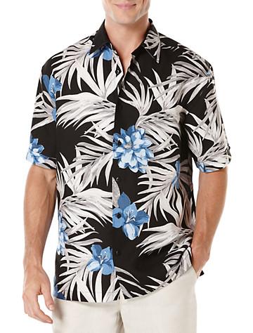 Cubavera® Floral Print Sport Shirt (jet black)