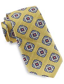 Gold Series Designed in Italy Herringbone Medallion Silk Tie