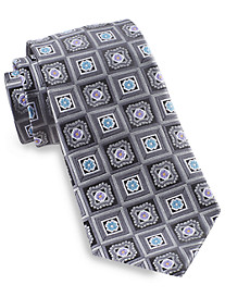 Gold Series® Designed in Italy Square Floral Medallion Silk Tie