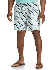 Nautica® Geometric Wave-Print Swim Trunks
