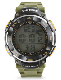 True Nation® Green Rubber-Strap Digital Watch