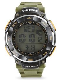 True Nation® Green Rubber-Strap Digital Watch