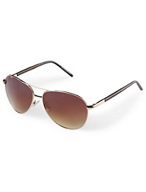 True Nation® Goldtone Aviator Sunglasses with Wooden Arms