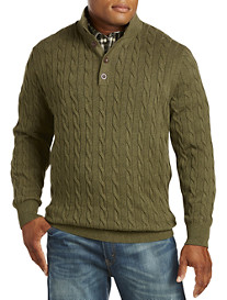 Oak Hill® Button-Mock Cableknit Sweater