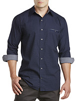 Synrgy™ Roll-Sleeve Patterned Sport Shirt