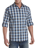 Synrgy™ Large Plaid Roll-Sleeve Sport Shirt