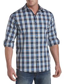 Synrgy™ Large Plaid Roll-Sleeve Sport Shirt
